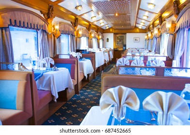 MUMBAI, MAHARASHTRA, INDIA 21 MARCH 2015 : Interiors of the Deccan Odyssey luxurious passenger train, providing a luxury travel experience magnificent history of India.