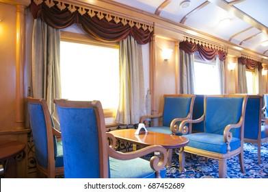 MUMBAI, MAHARASHTRA, INDIA 21 MARCH 2015 : Interiors of the Deccan Odyssey luxurious passenger train, providing a luxury travel experience magnificent history of India.