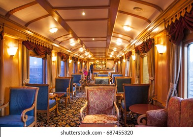 MUMBAI, MAHARASHTRA, INDIA 21 MARCH 2015 : Unidentifed tourist at on board the Deccan Odyssey luxurious passenger train. providing a luxury travel experience magnificent history of India.
