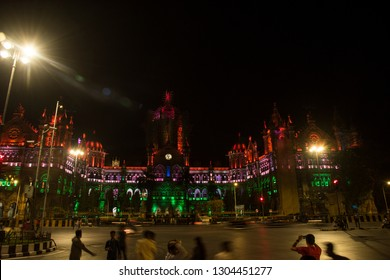 MUMBAI, MAHARASHTRA, INDIA  26 JANUARY 2019 :  Chhatrapati Shivaji Terminus (CST) formerly Victoria Terminus in Mumbai, is a UNESCO World Heritage Site with Indian tricolor lighting on Republic day