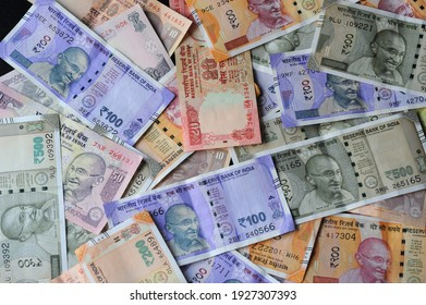 Mumbai Maharashtra India Asia March. 01 2021 Indian currency banknotes business background India economy finance concept