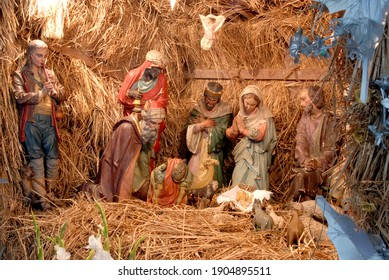 Mumbai Maharashtra India; Dec. 25 2007 The holy family Christ child Christmas crib Christmas nativity scene birth of baby Jesus