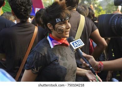 Mumbai, Maharashtra, India -December ,15,2013:LesbianGayBisexual Transgender Communityprotest against Supreme court verdict of IPC377  in Mumbai, Maharashtra ,India