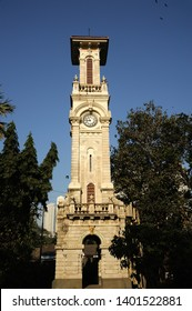 Mumbai; Maharashtra; India- Feb. 2015 : Clock Tower in Veermata Jijabai Bhosle udyan or victoria garden; formerly called Rani Baug & Zoo; is a zoo and garden Byculla