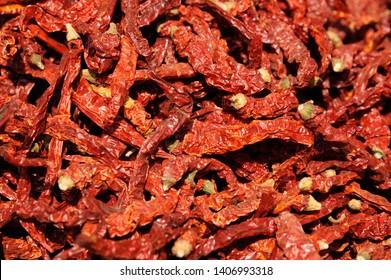 Mumbai; Maharashtra; India - FEB. 2015 : Indian spices; Kashmiri Dried Chilli