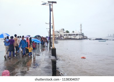 Mumbai, Maharashtra/ India - July 2, 2018: A picturesque view of the famous Haji Ali Dargah in Mumbai city INDIA. The place is a holy shrine in memory of a wealthy Muslim merchant Haji Ali Shah.