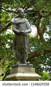 Mumbai Maharashtra India June 18 2008 Statue and samadhi of a lokmanya bal gangadhar tilak at chaupati near charniroad