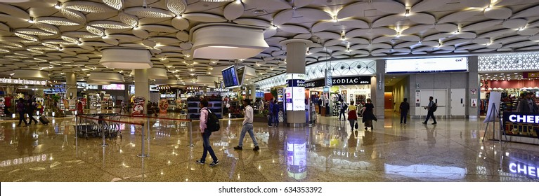 MUMBAI, MAHARASHTRA, INDIA - MAR. 19: Chhatrapati Shivaji International Airport. Terminal 2, International Departures on MAR. 19, 2017. In 2016, it was the 14th busiest airport in Asia.