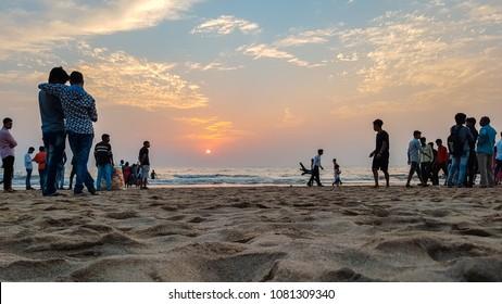 Mumbai, Maharashtra / India - March 25 2018: People enjoying beautiful Evening at Juhu Beach. Avadhesh Bhoot.