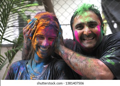 Mumbai; Maharashtra; India - March. 27; 2013 : Festival of colours; unidentified   Young Friends Celebrating & EnjoyingTraditional and Famous holi festival bombay