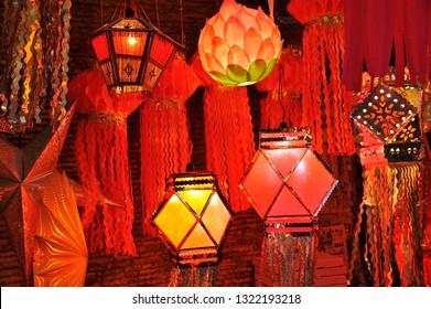 Mumbai; Maharashtra; India -oct; 10; 2011 Colourful Modern Lanterns in Various Shapes Akash kandil ( Diwali decorative lamps ) Hang out side shop for sale celebrating diwali Festival