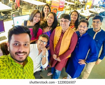 Mumbai, Maharashtra / India - October 02 2018: Indian People Diwali Festival Celebration at Office