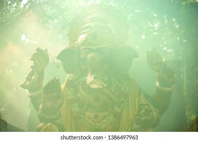 Mumbai; Maharashtra; India - Sep. 2012 : Idol of Lord Ganesh Elphant Headed God During Immersion/visarjan Last day of the Ganpati Festival Bombay