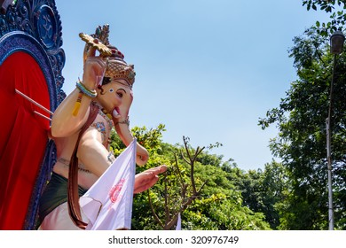 Mumbai, Maharashtra, INDIA - SEPTEMBER 27. Ganesha idol in street procession for immersion in the sea on 10th day after Ganesh Chathurthi September 27, 2015 in Mumbai,India.