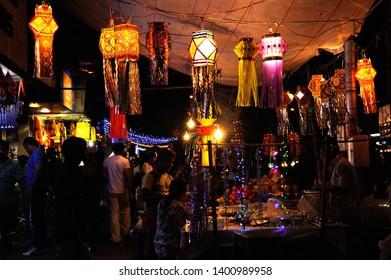 Mumbai, Maharashtra, India-Nov. 2015 Colourful Modern Lanterns in Various  Size & Shapes Akash kandil or Diwali decorative lamps Hang outside shop for sale; celebrating diwali Festival