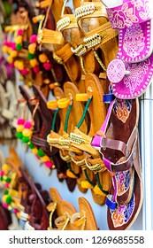 """Mumbai, Maharashtra/India - February 8th, 2017: Kala Ghoda Festival Colourful Ladies Ethnic Footwear Known As Kolhapuri Chappal"