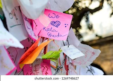 """""""Mumbai, Maharashtra/India - February 8th, 2017: Happy Sticky Notes Written At Kala Ghoda Festival"""
