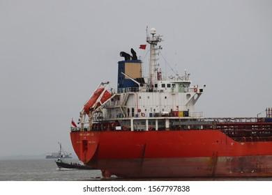 Mumbai, Maharastra/India- November 22 2019: Shipping Industry suffering from trade war. Segment of ship control unit. Bridge, antenna, and masthead light of a big ship.
