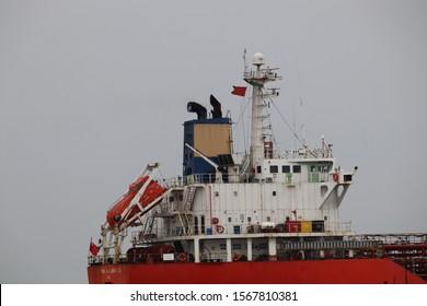 Mumbai, Maharastra/India- November 22 2019: Ship control centre. Bridge, antenna, and masthead light of a cargo vessel. Marine engineering and communications.