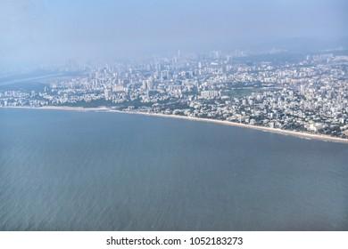 Mumbai : March 2018: Beautiful view of Juhu beach from airplane window.
