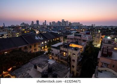 The Mumbai skyline  at dusk on a warm autumn evening