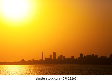 Mumbai skyline, sunset