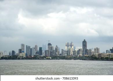 Mumbai skyline view from Marine Drive in Mumbai, India