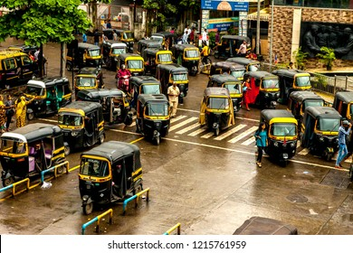 Mumbai Thane, India - August 25 2018. Tuk tuk rickshaw waiting at main square in Thane, India one of the major cities in the Indian state of Maharashtra,