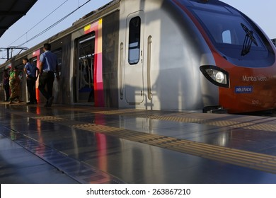MumbaiI, India, March 15, 2015: Mumbai Metro train. Comfortable, modern , fast, new & air conditioned way of transport in Mumbai India, shot on March 15, 2015.