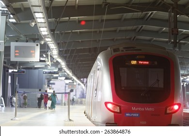 MumbaiI, India, March 17, 2015: Mumbai Metro train. Comfortable, modern , fast, new & air conditioned way of transport in Mumbai India, shot on March 17, 2015.