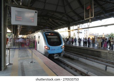 MumbaiI, India, March 18, 2015: Mumbai Metro train. Comfortable, modern , fast, new & air conditioned way of transport in Mumbai India, shot on March 18, 2015.