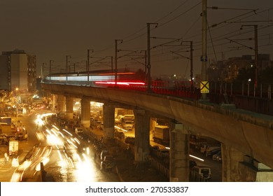 MumbaiI, India, March 24, 2015: Mumbai Metro train. Comfortable, modern , fast, new & air conditioned way of transport in Mumbai India, shot on March 24, 2015.