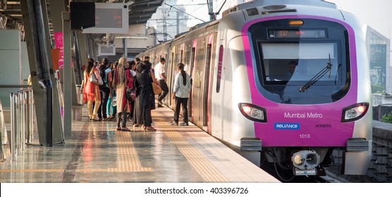 MumbaiI, India, March 24, 2015: Mumbai Metro train local transport Mumbai, Maharashtra, India, Southeast Asia.
