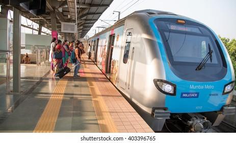 MumbaiI, India, March 24, 2015: Mumbai Metro train local transport Mumbai, Maharashtra, India, Southeast Asia.