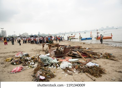 MUMBAI,INDIA, 24 SEPTEMBER 2018 : Sea pollution from garbage after immersion of Hindu god Ganesha, Chowpatty Beach in south Mumbai after Hindu festival of immersion of Ganesha into the sea.