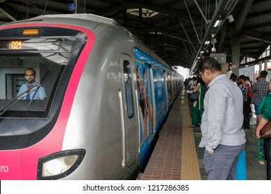 Mumbai,India 8-14-2018 Mumbai's reliance metro rail has eased traffic congestion on Andheri Kurla road. More and more people are travelling by metro in the city