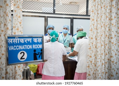 MUMBAI-INDIA - February 17, 2021: Medical staffers gather for a briefing at during the Covid-19 coronavirus vaccination drive at the Shatabdi Hospital.