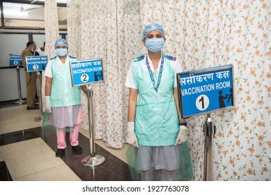 MUMBAI-INDIA - February 17, 2021: Medical staffers at the Covid-19 coronavirus vaccination center at the Shatabdi Hospital.