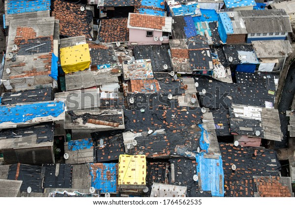 MUMBAI/INDIA- JUNE 25, 2020: Aerial view of Appa Pada slum in Malad, which is under government-ordered isolation due to a high number of positive COVID-19 cases detected.