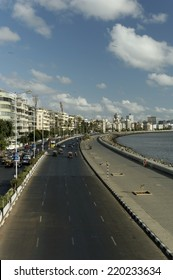 MUMBAI,INDIA - MAY 17th 2008: view of Nariman Point skyline from Marine Drive.