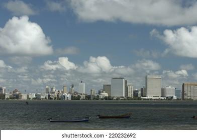 MUMBAI,INDIA - MAY 18th 2008: view of Nariman Point skyline from Marine Drive.