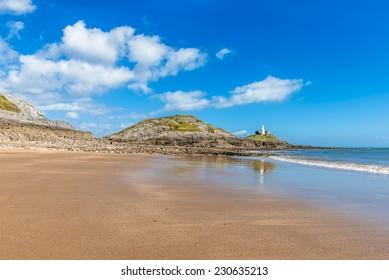 Mumbles Lighthouse, Swansea, Wales, UK