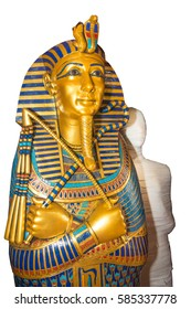 mummy replica statue in sarcophagus. Painted in the original colors.