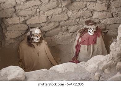 Mummys in Chauchilla Cemetery in Nazca, Ica, Peru