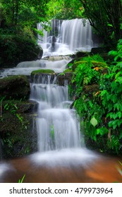 Mun Daeng Waterfall, the beautiful waterfall in deep forest during rainy season at Phu Hin Rong Kla National Park in Thailand