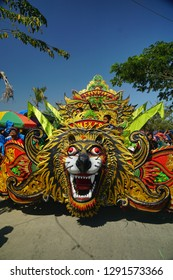 Muncar, Banyuwangi, Indonesia 26 September 2018 : The procession of the Barong in the celebration of Petik Laut tradition.  ( or fishermen thanksgiving tradition). Barong means dances that wear masks.