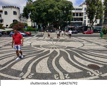 MUNCHAL, PORTUGAL - AUGUST 21, 2019: view on the streets near port and seaside at the summer