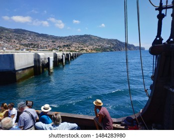 MUNCHAL, PORTUGAL - AUGUST 21, 2019: passengers on the Santa Maria replica of Columbus ancient ship