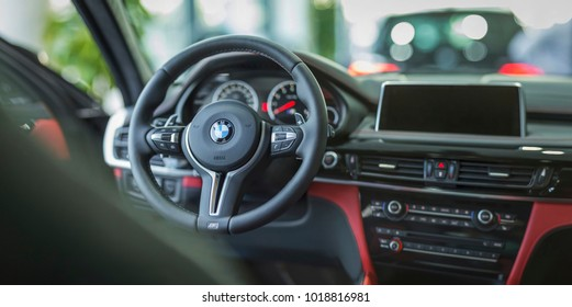 Munchen Germany - February 06, 2018: Car Interior BMW X6 M Black Fire Edition, black and red skin color at BMW Welt (BMW World) in Munich, Germany