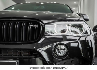 Munchen Germany - February 06, 2018: Car BMW X6 M Black Fire Edition at BMW Welt (BMW World) in Munchen, Germany